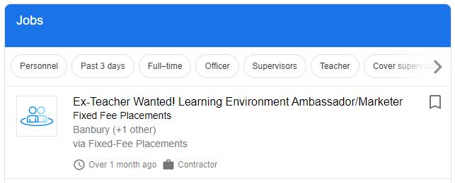 """Screenshot of Google search for """"Ex-teacher jobs"""""""