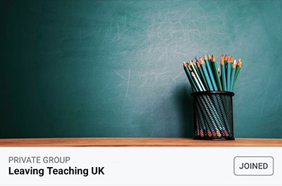 Logo for Leaving Teaching UK Facebook group.