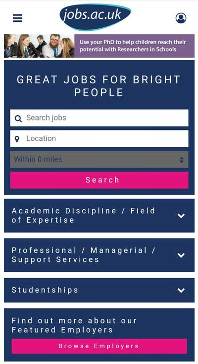 Screenshot of Jobs.ac.uk search